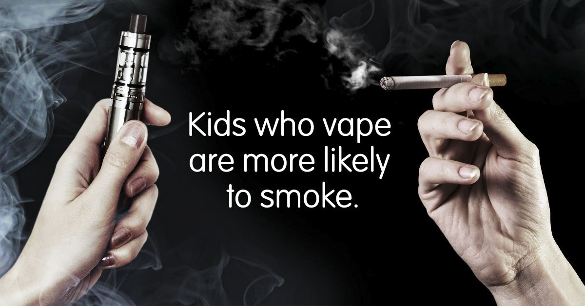Kids who vape are more likely to smoke.
